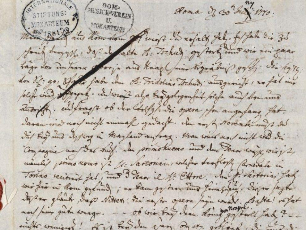 Leopold, lettera del 30 giugno 1770
