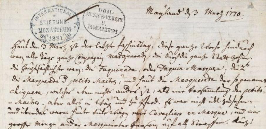Mozart, Lettera del 1770-03-03