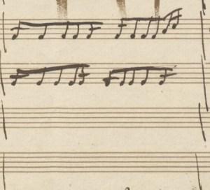 Bianchini, Trombetta, informazioni vitali su Mozart. Immagine del manoscritto di Mozart con un errore nella battuta da 4/4. C'è un sedicesimo in più