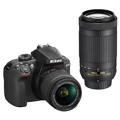 Nikon D3400 Digital Camera Kit (Black) with Lens AF-P DX Nikkor 18-55mm, 70-300mm