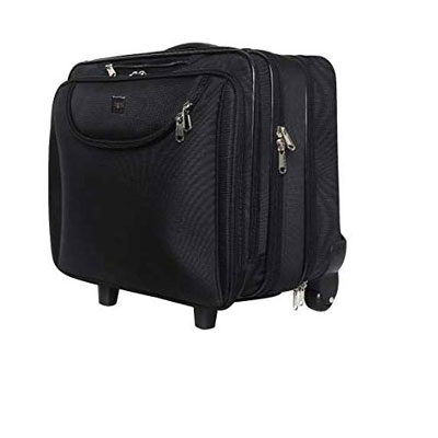 Swisstek Black 15 inch Trolley Laptop Bag with 2 Wheels (LTB011)
