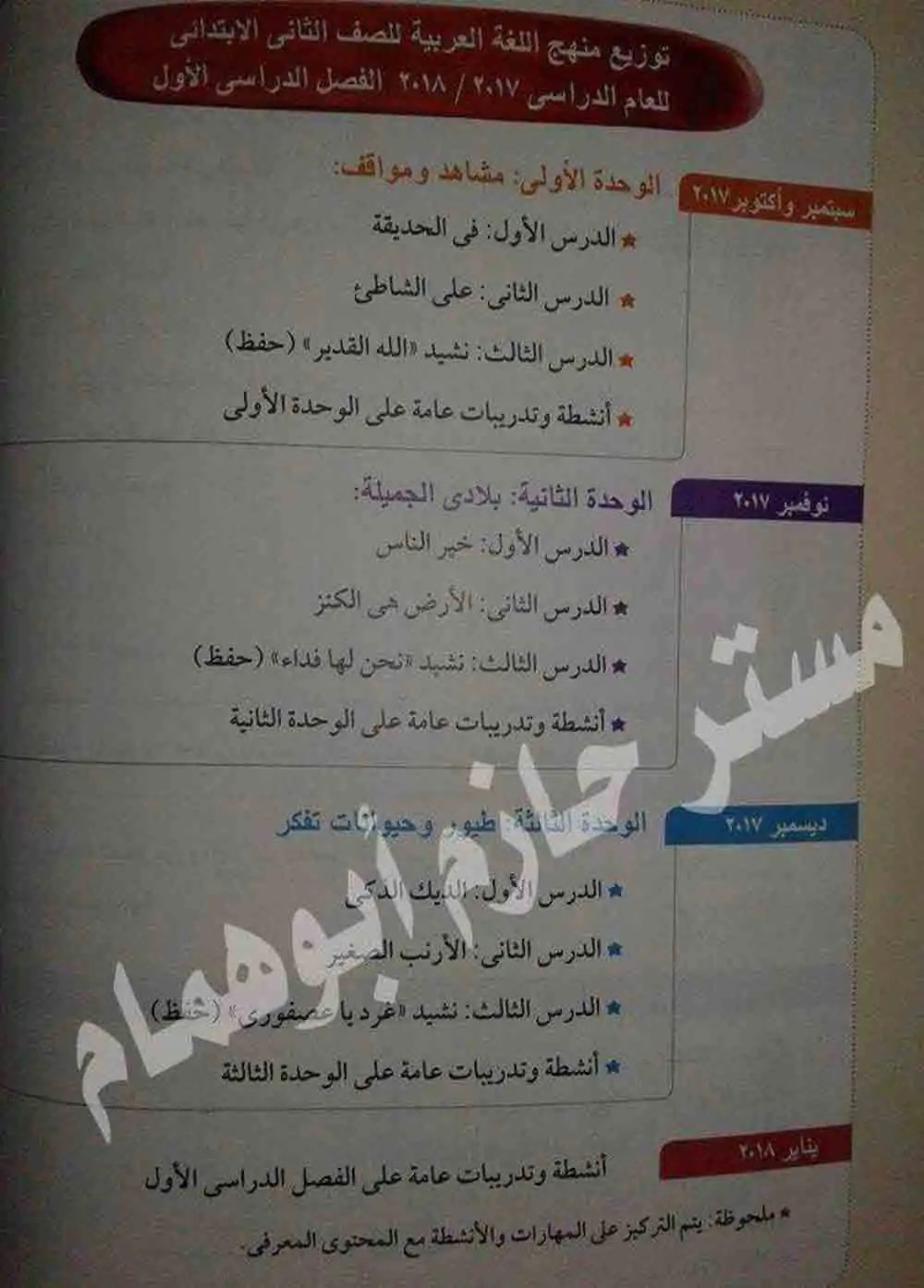 توزيع منهج اللغة العربية لجميع الصفوف