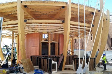 Cantiere Padiglione in legno birra Moretti Expo 2015 - Mozzone Building System 17