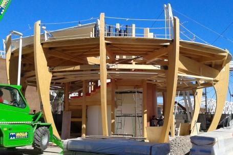 Cantiere Padiglione in legno birra Moretti Expo 2015 - Mozzone Building System 18