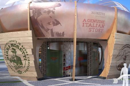 Padiglione in legno birra Moretti Expo 2015 dettaglio - Edificio 4 piani legno vinovo esterno - mozzone building system