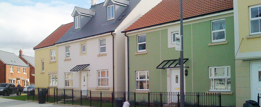 Through Colour Render for Housing Development - Colours used are yellow, light pink and green.