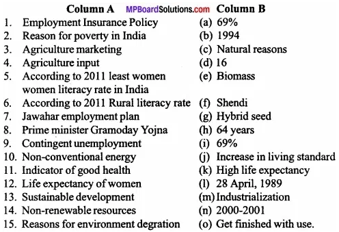 MP Board Class 11th Economics Important Questions Unit 5 Current Challenges Facing Indian Economy img 1