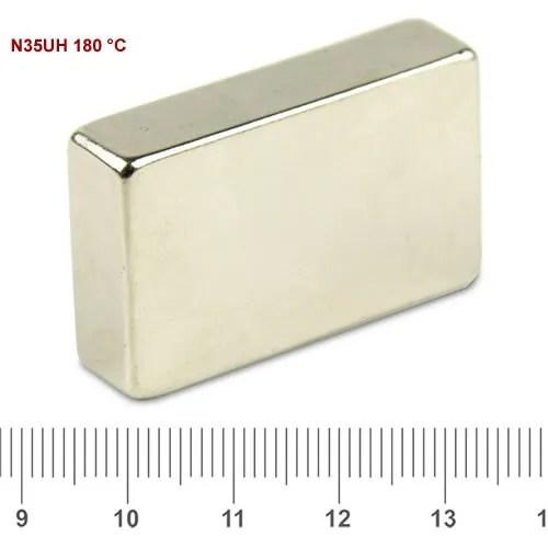 40 x 25 x 10mm Block Bulk NdFeB Magnet N35UH Ni