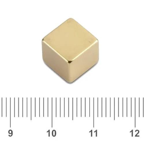 Cube Cubio Magnet Neodymium Gold N42 12mm