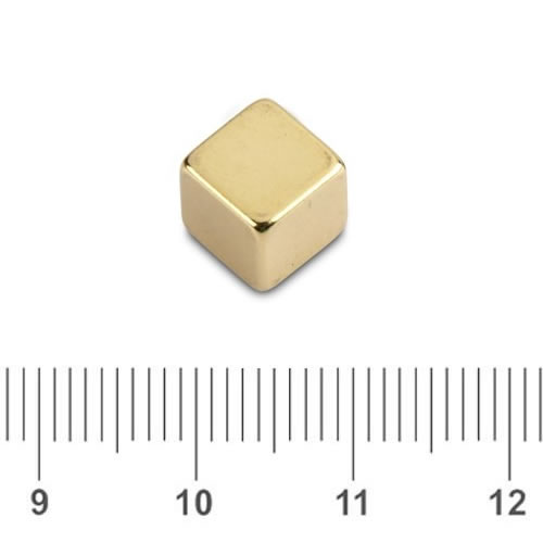 Cube Permanent Magnet Gold Coating N45 8mm