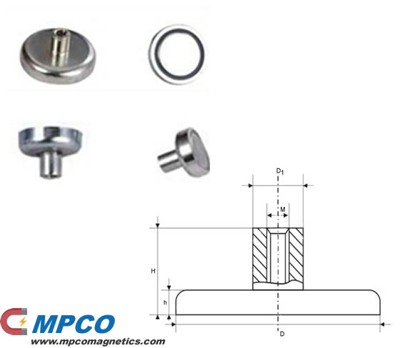 ND Series Round Base holding pot magnet with stud