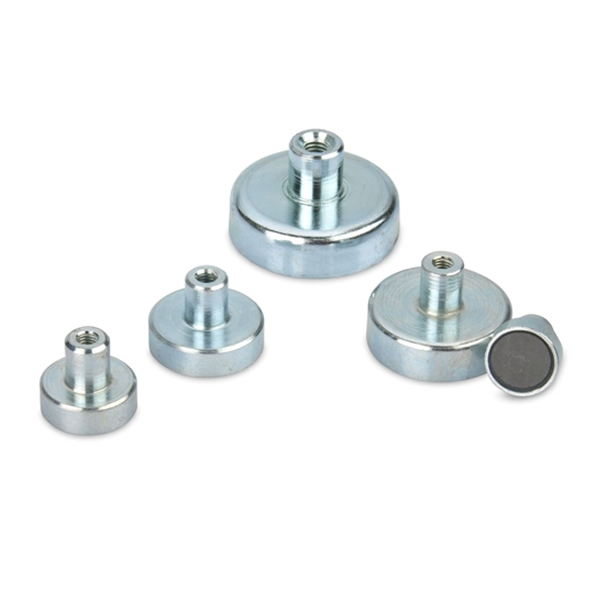 Ferrite Mounting Magnets w Threaded Bushing