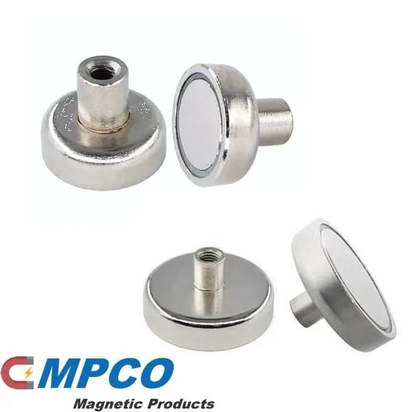 Neodymium Pot Magnets with Threaded Stems