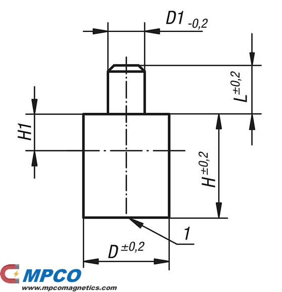AlNiCo Magnets Deep Pot with Pin DRAWING
