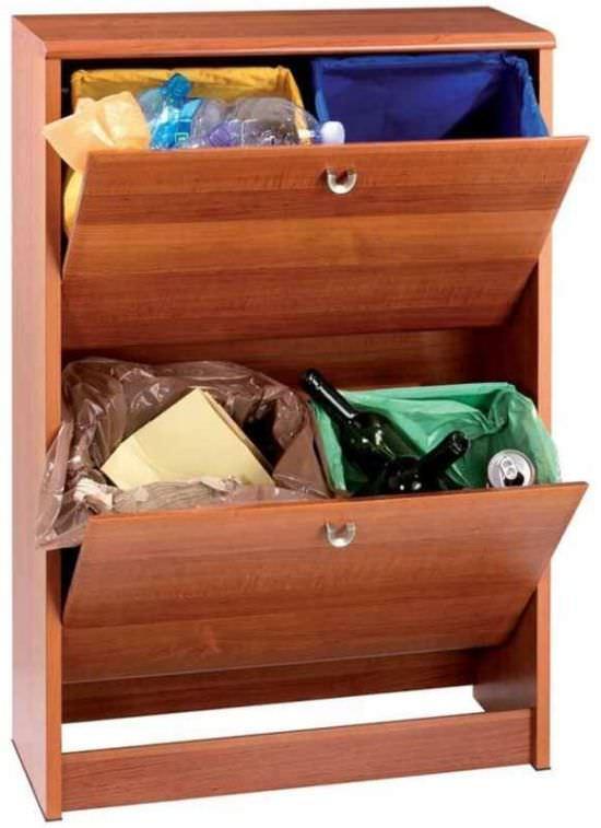 Mobile per la raccolta differenziata con contenitori