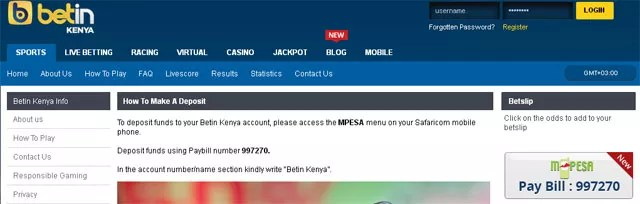 How to Deposit into Betin Kenya using Mpesa