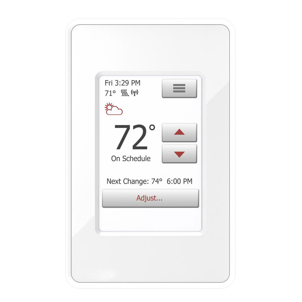 touch screen 7 day programmable wi fi thermostat with floor sensor and built in gfci [ 1000 x 1000 Pixel ]