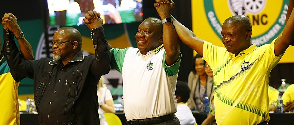 South African President Cyril Ramaphosa (centre) with ANC national chairman Gwede Mantashe (left) and deputy president David Mabuza
