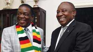 Zimbabwean president Emmerson Mnangagwa and his South African counterpart Cyril Ramaphosa