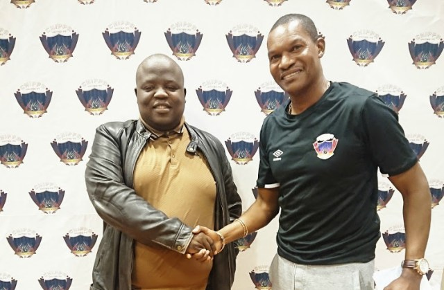 """Newly appointed Chippa United Coach, Norman Mapeza with club owner Siviwe """"Chippa"""" Mpengesi"""