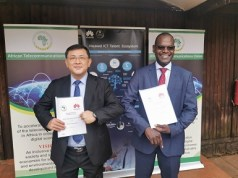 Huawei Vice President for Southern Africa, Samuel Chen (left) with ATU Secretary-General, John Omo