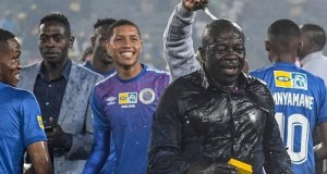 File photo. SuperSport United players celebrating victory after winning the 2019 MTN Cup Final.