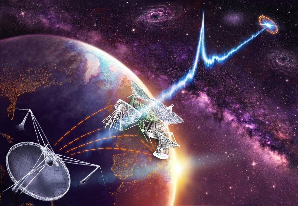 A number of radio telescopes were used within the European VLBI Network (EVN) to observe FRB 121102 (Artist's impression).