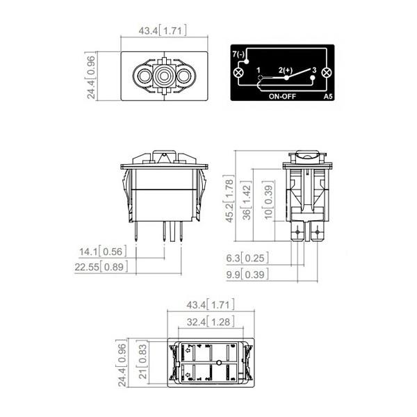 Interrupteur à bascule ON/OFF type Carling 12/24V 10/20A