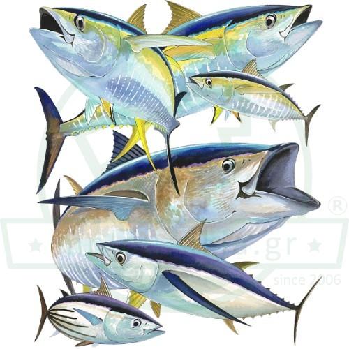 Τόνοι Ψάρεμα Εκτύπωση Μπλουζάκι