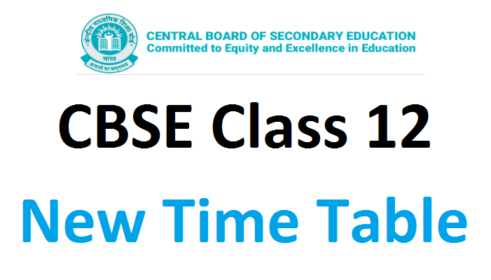 CBSE 12th time table