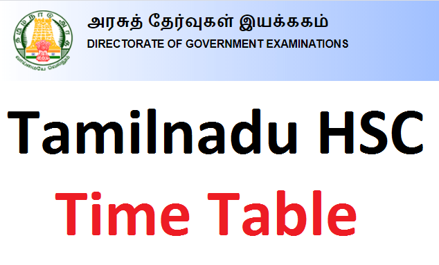 TN HSC Time Table