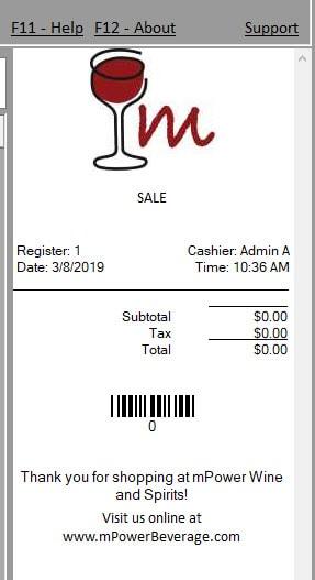 pos liquor receipt