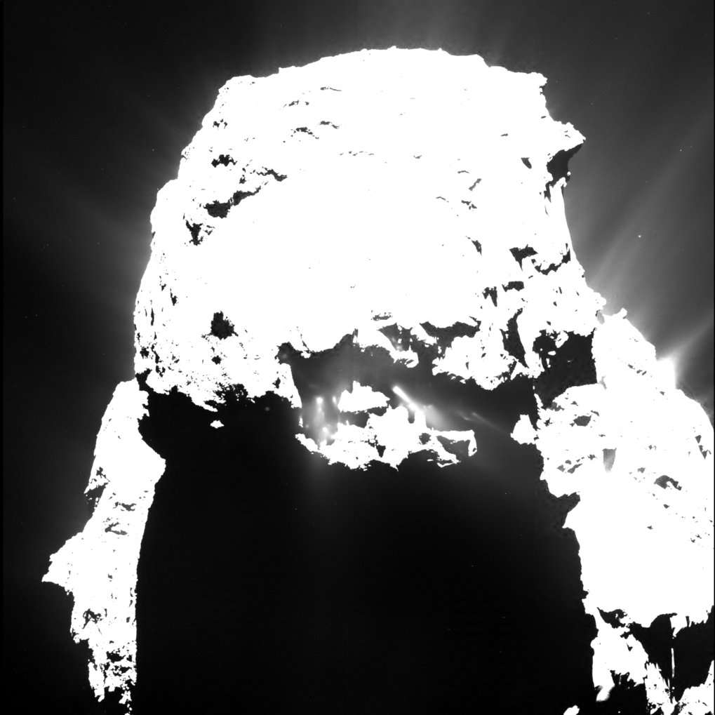 This image of Rosetta's comet taken on 25 April, 2015 from a distance of approximately 93 kilometers shows clearly distinguishable jets of dust after nightfall. [less]