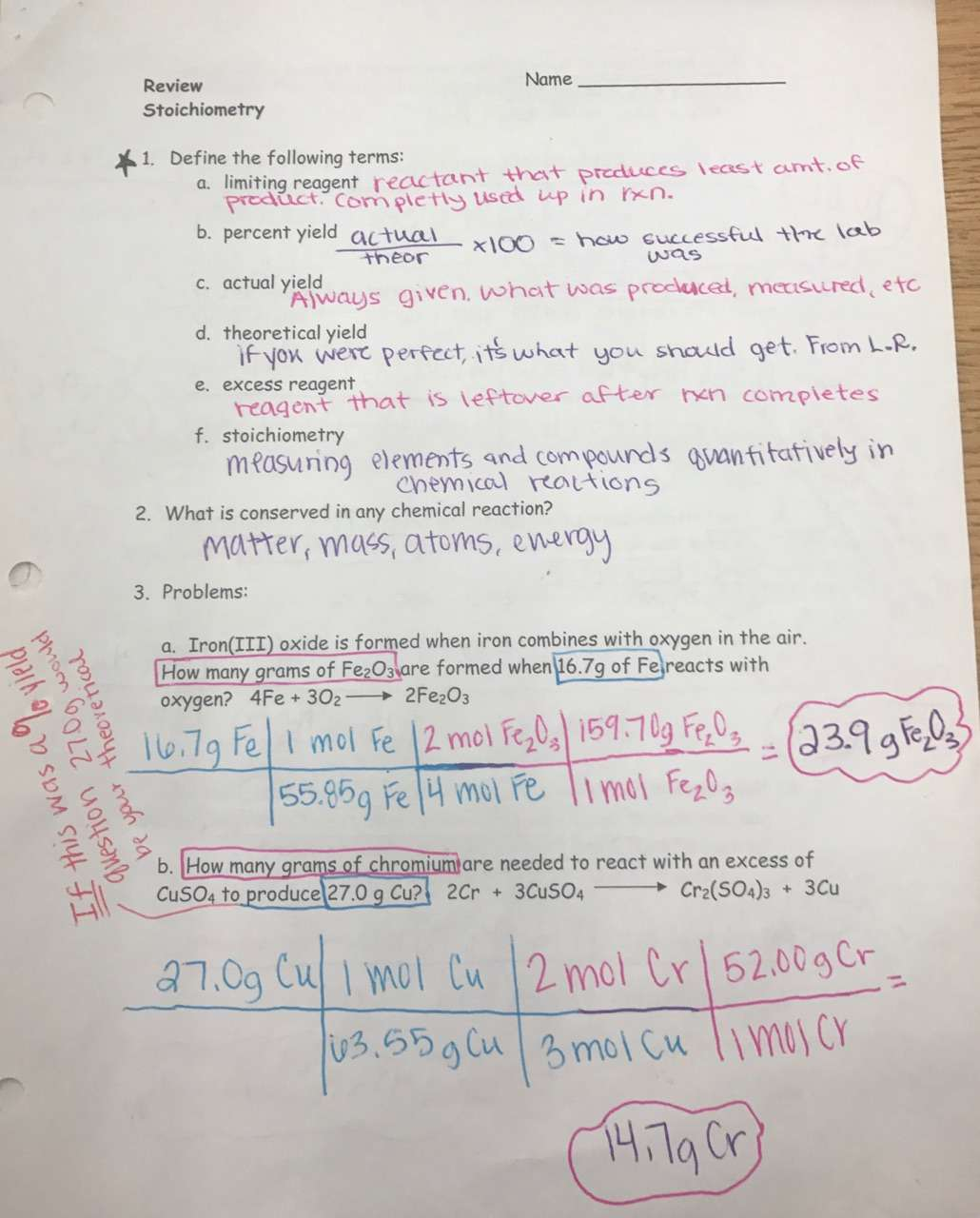 Mountain View Unit 11 Stoichiometry