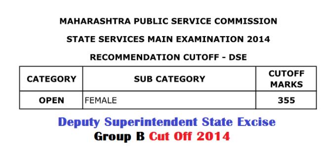 MPSC DSEB Cut Off 2014