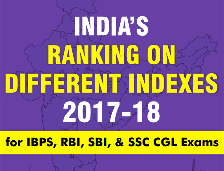 INDIA'S RANKING ON VARIOUS INDEXES 2017-18