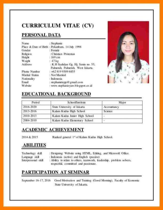 Contoh Curriculum Vitae Cv Dalam Bahasa Inggris Yang Lalod