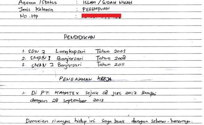 Contoh Surat Daftar Riwayat Hidup Tulisan Tangan Cute766