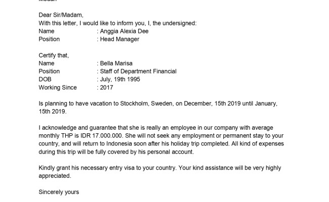 Contoh Surat Keterangan Karyawan Untuk Segala Keperluan