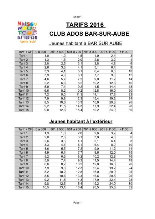 TARIF CLUB ADOS 2016