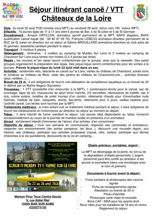 infos séjour Loire 2016