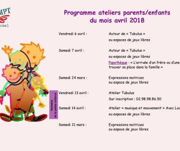 Programme ateliers parents/ enfants avril