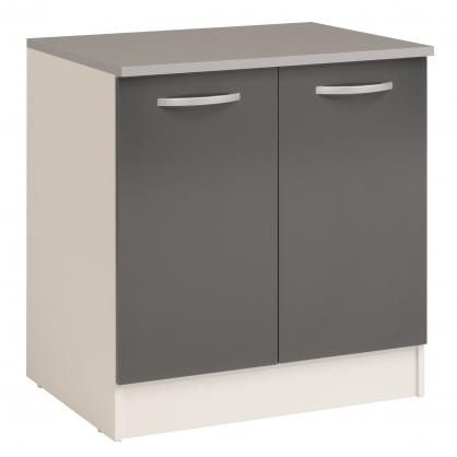 meuble de cuisine sous evier eko gris brillant 80 x 60 x 86 cm ekipa mr bricolage