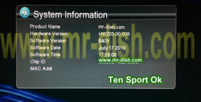 HW203.00.009 GX6605S TEN SPORT OK POWERVU SOFTWARE