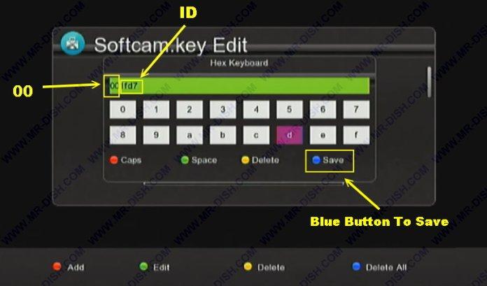 Press Blue Button to Save Key
