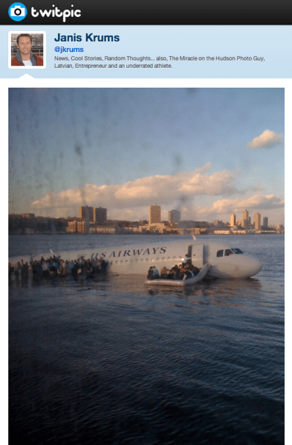 """There's a plane in the Hudson. I'm on the ferry going to pick up the people. Crazy."""