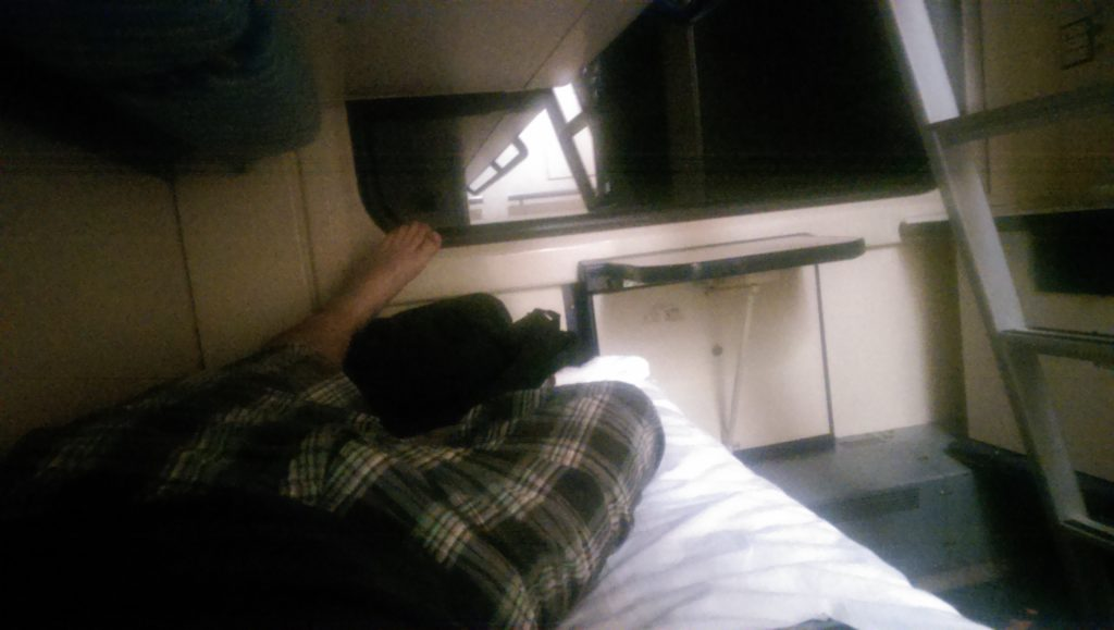 Me on my couchette in the sleeping compartment on the Prague to Krakow train... What Cologne to Prague should have been too!!