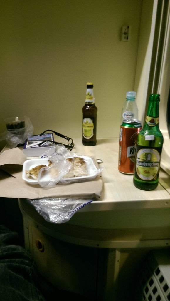 My pancakes and beer bought on the train in Belarus