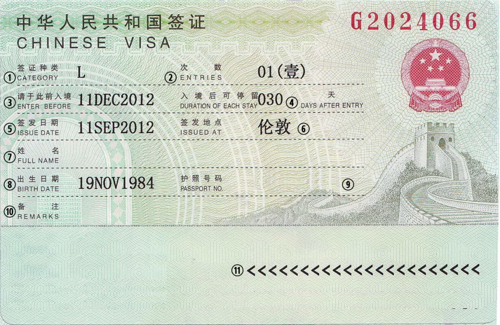 Example Chinese Visa