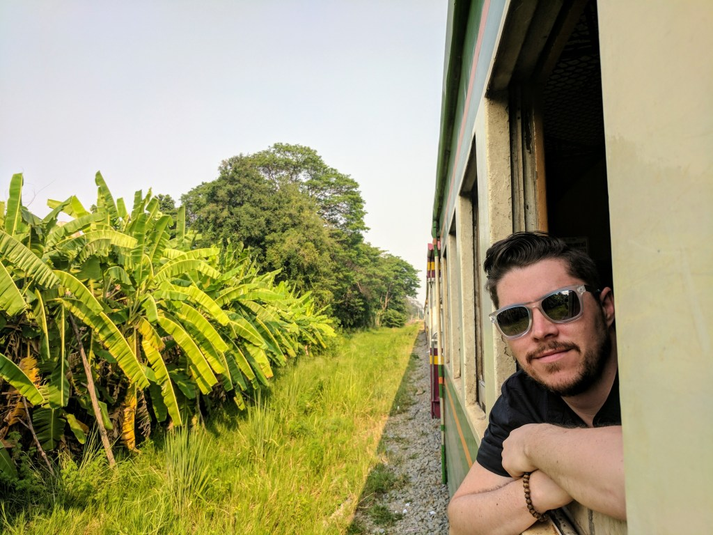 On the train along the Death Railway to Kanchanaburi